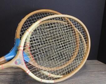 3 Vintage Wooden Badminton Rackets // Game Room // Man Cave // Porch Decor