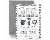 Wild Adventure Baby Boys Shower Invitation - Fun Jungle Party Printable - Lion and Elephant Safari Sprinkle Invite Paper Prints DIY (ASB1)