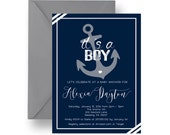 Navy Nautical Baby Shower Invitation for Boys, Seashore Invites, Anchor Baby Shower, Baby Boys Sprinkle, Printable Party or Printed (NAVNA)