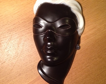 VTG Wall Mask // Black Face Dominatrix // Mid Century Modern //Bal Masque // CORTENDORF style // Germany // 1950s