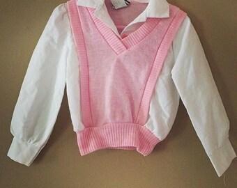 Vintage sweater vest pink top 2t