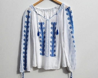 Mexican Oaxacan CHEESECLOTH Gauze Boho Tunic Hippie Hippy Embroidered Hungarian Romanian Ethnic Top