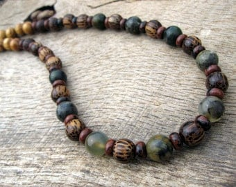Mens surfer necklace, old jade, jasper and wood beads, tribal style, handmade from natural materials, genuine green jade, one of a kind