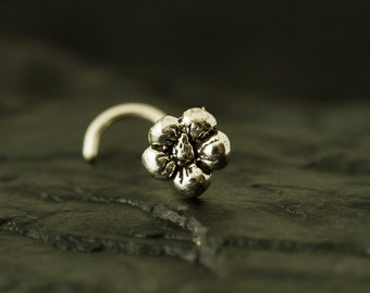 Mini flower sterling silver nose stud / nose screw / nose ring
