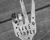 LIVE SIMPLY hand stamped Fork Garden Marker with Stars Herb Plants Flowers