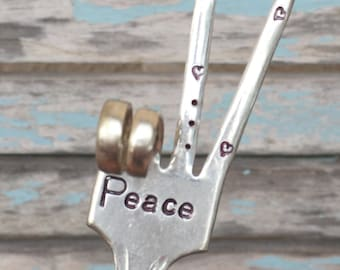 PEACE sign Garden Marker for plants herbs poinsettia With HEARTS and dots On Tines