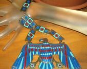 EGYPTIAN REVIVAL NECKLACE  Silver Enamel Massive Eagle 155.5 Grams Vintage Bib Collar For RepairChoker