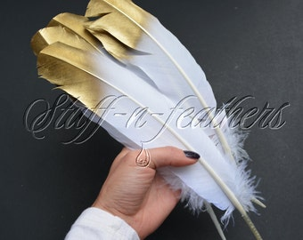 Gold Tip feathers, metallic gold painted long white turkey feathers for millinery wedding party holiday table decor / 10-14 in long / F181G