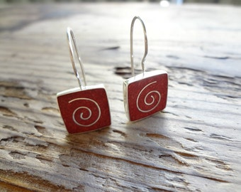 CLOSING CLEARNCE Sterling Silver Coral dangle earrings