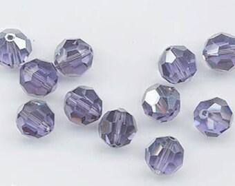24 beautiful Swarovski discontinued crystals - art 5000 - 6 mm - tanzanite satin
