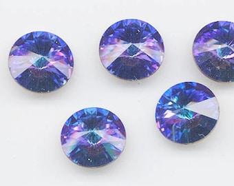 Four vintage Swarovski rivoli crystals - Art. 1122 - 18 mm - rare effect color heliotrope