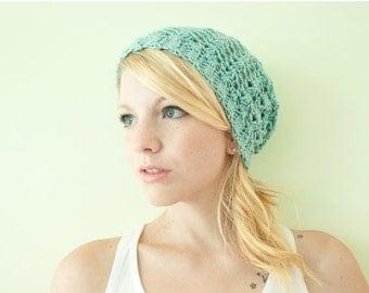 WINTER SALE Slouchy hat beanie crocheted - aquamarine - acrylic
