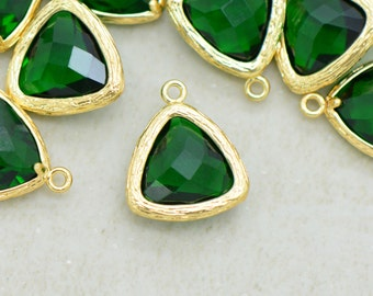 Triangle Jewel Charms EMERALD Faceted Glass in 24k GOLD Plated Brass Setting Drop Gem Jewels 14mm Triangle Bezel Green Stone ()