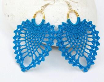 Large crochet earrings with pineapple shape