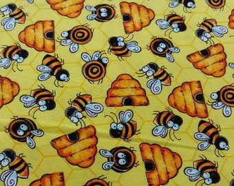 Bumble Bee Print Fabric by the yard
