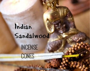 "Sandalwood Incense Indian Sandalwood Incense Sandalwood Cone Incense 3"" cones 15 Pack Handmade Classic Meditation Scented Handcrafted"