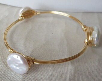 "Lustrous Natural Coin Pearl Bangle Bracelet ""Bourbon and Bowties"" Inspired"
