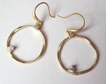 Gold Swirl Matte Finished Hoop Earrings with CZ's