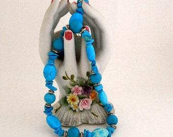 Turquoise Chunky Stone Necklace - Handmade