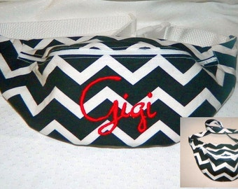 Black Chevron Print Fanny Pack - Hip Bag - Women and Teen Girls Hip Pouch