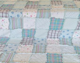 TWIN Aqua & Pink Rag Quilt Handmade Recycled Fabrics