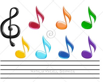 Music notes clipart set, digital graphic, instant download, colorful clip art for scrapbooking and crafts, cute clipart, black, Rainbow