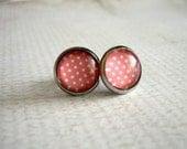 Pink Dot Earrings : Glass Photo Studs