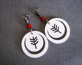 White Wood Tree Earrings