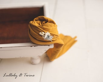Mustard DELUXE Stretch wrap with matching rosetie back tieback newborn photography prop