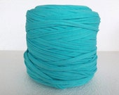 Recycled T-Shirt Tricot, T Shirt yarn, cotton cord, aqua blue  t-shirt yarn, zpagetti yarn, for rugs,  for necklaces, for crochet