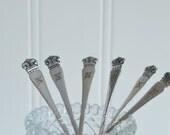 Coffee and tea spoons, vintage tarnished cutlery, monogram N , please see item details