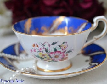 ON SALE Paragon Royal Blue and White F104F Pattern Teacup and Saucer Gold Garland, English Bone China Teacup, Cabinet Teacup, ca. 1960-1963