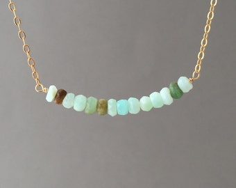 Peruvian Opal Stone Beaded Necklace available in gold, rose gold, or silver