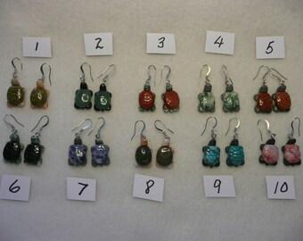 CLOSE OUT Gemstone Turtle Earrings  1 Pair
