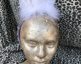 Vintage White and Lavender Feather Headband. White Ostrich Feather with Marabou and Sequin Embellishment. Average/Small Adult