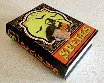 Halloween Witch or Wizard Spellbook Secret Faux Book Box