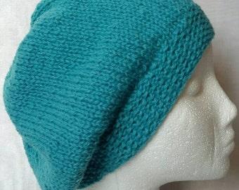 Turquoise Slouchy Hat Shetland Wool Extra Large