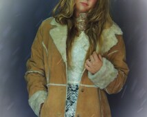 Vintage fx fur suede jacket / classic hippie afghan Penny Lane hippie Russian Princess coat / Fluffy fx shearling trims against tan