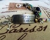Stamped, Cuff, Bracelet, Good Heart phrase, Inspirational, Boho Chic, Gypsy Style. By: Kari Wolf Designs