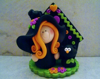 Witch - Black Cat - Polymer Clay - Halloween - Figurine