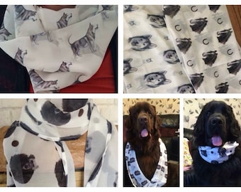 Pet portrait scarf, for dog owners, for cat owners, for pet owners, chiffon scarf, pets