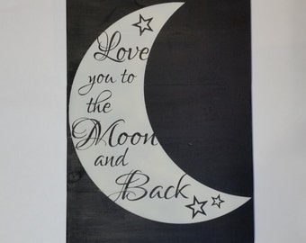 Stenciled I love you to the moon and back pallet sign