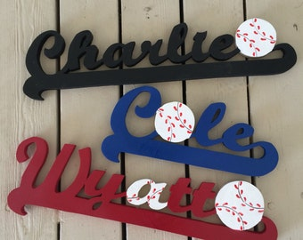 Baseball Name, Wood Letters for Nursery, Sports Name, Name Plate, Name Sign, Baby Shower Decor