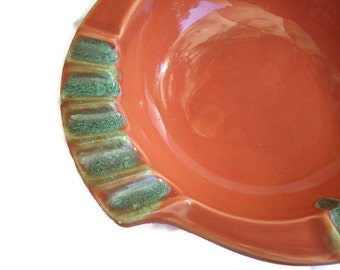 Vintage Ashtray Mid Century 1950s Retro Coral Green Ceramic Pottery