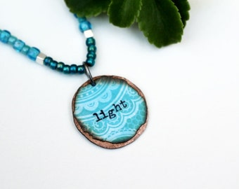 Blue Mixed Media Necklace, Mixed Media Jewelry, Inspirational, Light, Recycled Repurposed, Pendant Necklace, Short Necklace, Beaded Jewelry
