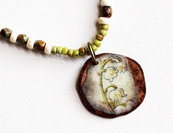 Green Bead Necklace Lily of the Valley Pendant Beaded Jewelry Mixed Media Pendant Necklace Short Pendant Necklace Boho Hippie Seed Bead