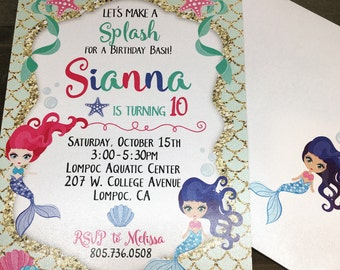 Birthday Party Invitations - Mermaid - Teal - Gold - Birthday Invitations -  Kids invitations - cute invites - custom - personalized