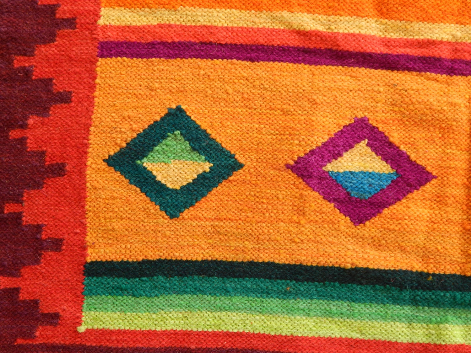 abstract brights rug handwoven in ayacucho peru large 5x7. Black Bedroom Furniture Sets. Home Design Ideas