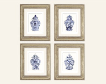 Set of 4 Blue & White Ginger Jar with Florals and Vines Fine Art Prints on Archival Watercolor Paper