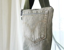 Small Purse, Jean Pocket Hand Bag, Zip Top Bag, Small Handbag, Little Purse, Purse, Upcycled Green Denim Jeans Bag Again